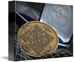 "Patek Philippe Geneve Commemorative Medal Coin $62 // Style: Soft Edge Canvas Print; Size: Petite 8"" x 10"" // Visit http://www.imagekind.com/Patek-Philippe-Geneve-PPG_art?IMID=bae1610e-bc86-4d74-b114-9f3600a883e3 for product details."
