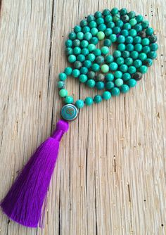 Green chrysoprase neckace Tibetan OM bead by JivalaJewelry on Etsy