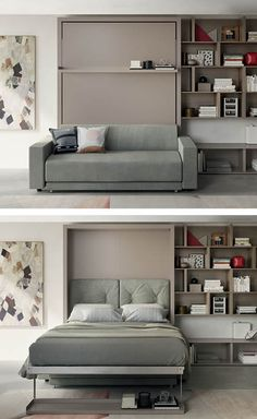 The Oslo Sofa is a queen-size, fold-down wall bed with integrated two-seat sofa, featuring additional storage space under the sofa. Sofa Bed For Small Spaces, Cozy Small Bedrooms, Hidden Wall Bed, Murphy Beds, Resource Furniture, Guest Room Office, Bed Wall, Home Office Design, Living Room Inspiration