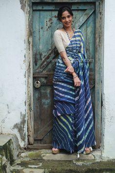 Discover thousands of images about Dark Indigo Leheriya Khadi Cotton Saree Indigo Saree, Khadi Saree, Churidar, Blue Saree, Simple Sarees, Trendy Sarees, Stylish Sarees, Cotton Saree Blouse Designs, Blouse Patterns