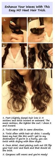 Twist hair while damp to help it look better after air drying.