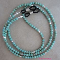 Summery turquoise magnesite and silver eyeglass chain for reading glasses. Summery turquoise magnesite and silver eyeglass chain for reading glasses. Beaded Jewelry Designs, Homemade Jewelry, Eyeglasses, Reading Glasses, Creations, Beaded Necklace, Jewelry Making, Eyeglass Holder, Latest Styles
