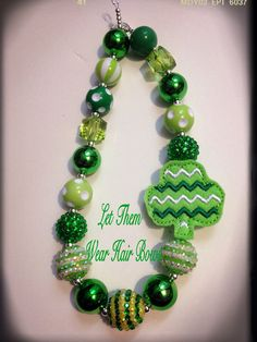 Shades of Green St Patricks Day Chunky Bead Necklace with Chevron Clover Feltie Pendant for Little Girls, Kids Jewelry, Toddler, Trendy  on Etsy, $13.49
