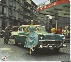 1956 Chevrolet filling gasoline in Taksim, Istanbul Turkey, Old Poster, Ottoman Empire, Second World, Gas Station, Go Kart, Retro, Historical Photos, Best Funny Pictures, Old Photos