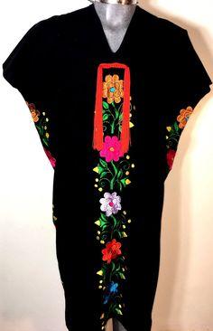 5 de Mayo Mexican Black Dress Daisy silk multicolor Embroidery tie back L//XL