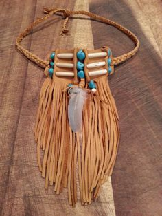 Native American bone beaded fringed choker