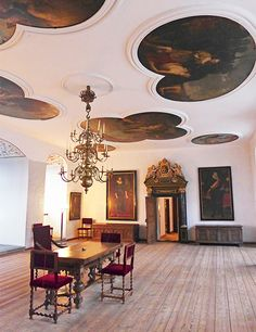 Tour the Maritime Museum of Denmark and Kronborg Castle--dining room of the castle with 16th-century paintings and furnishings.