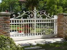 Whilst ancient in concept, your pergola has become going through a present day renaissance these Fence Gate Design, Steel Gate Design, Front Gate Design, House Gate Design, Door Design, Wrought Iron Driveway Gates, Iron Garden Gates, Front Gates, Entrance Gates