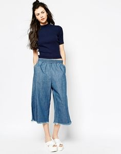 Agrandir Monki - Jupe-culotte en jean à bords bruts
