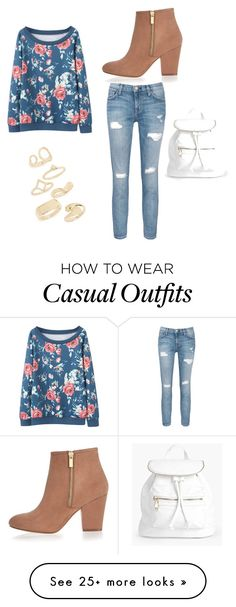 """Girly casual"" by peggymoncus on Polyvore featuring Current/Elliott, River Island, Topshop and Boohoo"