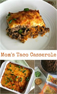 Mom's Taco Casserole made with seasoned ground beef, Doritos & cheese Taco seasoned ground beef, peppers, green chiles and onion, Taco Doritos crust and lots of cheese. All baked in this yummy taco casserole! Taco Casserole, Casserole Recipes, Taco Bake, Taco Flavored Doritos, Taco Dip, Mexican Dishes, Mexican Food Recipes, Diabetic Recipes, Keto Recipes