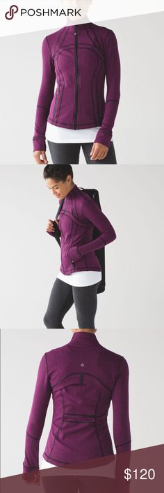 Lululemon Define Jacket Purple and black fitted jacket by Lululemon. Front pockets and zips up in the front. The size tag isn't in the jacket, but it fits me and I am a size 0-2. I can provide measurements as needed! New without tags. Open to offers; bundles discounted! lululemon athletica Jackets & Coats