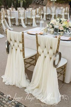 Beautiful off white woven fabric chair back decor for bride and groom or guests of honor