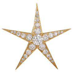TIFFANY & CO. Large Diamond Gold Star Pin/Pendant