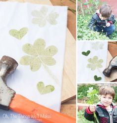 Making hammered shamrock prints and clover heart prints is fun and the technique can be used for all sorts of cloth and paper projects! Learn how to make them. This is perfect for St. Patrick's Day!