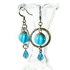 Modern Dangle Earrings in Aqua Blue