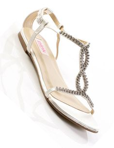 formal flat silver sandals for wedding | Flat bridal shoes: