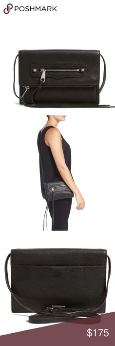 Rebecca Minkoff Black Leather Crossbody/Clutch Rebecca Minkoff Black Leather Crossbody/Clutch.  New with tags.  Everything in the Reagan line brings instant class to any outfit (or life) and this clutch is no exception.  The fold-over-style clutch is so right now, and this one's topped off with two Fringe-tipped zippers, an optional strap, and two storage compartments.  Wear it dancing, dating, drinking, or midnight movie-ing.   3 exterior compartments.  Lined.  1 pocket interior.  Optional…