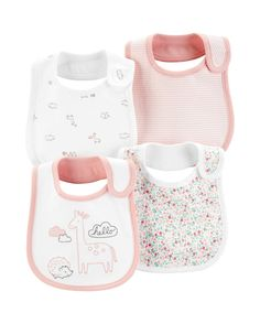 Carter's Giraffe Bibs In Pink These carter's Giraffe Bibs are a great value pack for your little one. This set of 4 is crafted of soft and absorbent cotton that is perfect for those little messes. Designed with different fun patterns your baby will love. Teething Bibs, Baby Invitations, Buy Buy Baby, Carters Baby Girl, Girls 4, Cool Patterns, Little Ones, Giraffe, Baby Kids