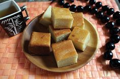 Butter Mochi   Lucky Peach  Honestly - it's just a form of Chinese New Year Cake, but still super tasty!