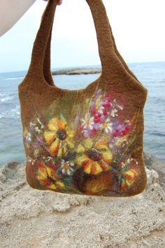 Wet felted handbag