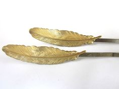 Feather Hair Accessories Gold Woodland Bobby Pins Clips Barretts. $18.00, via Etsy. #hair_accessories #hairclips