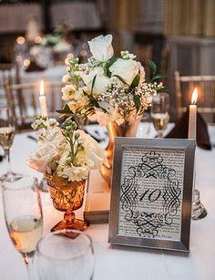 Vintage Book Inspired Wedding Table Numbers