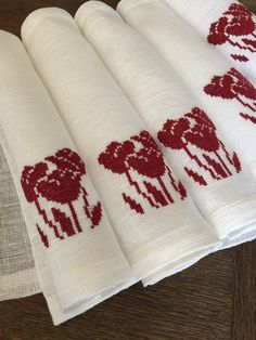 Linen Placemats Set of 6 Embroidered Linen Hand by Rokasdarbi