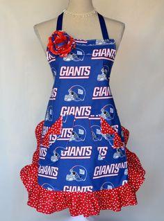 Women s Apron NY Giants Football Ruffled Polka by OliviabyDesign 2c921d36c