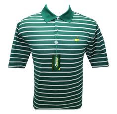 Masters Jersey Golf Shirt - Green White Stripes