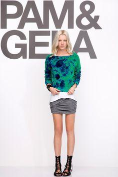 Pam & Gela | Resort 2015 | 22 Green/blue tie-dye long sleeve sweatshirt and grey mini skirt