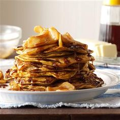 Pumpkin Pancakes with Cinnamon-Apple Topping Recipe from Taste of Home