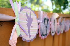 Whimsical Silhouette Tinkerbell Fairy Themed Happy Birthday Banner - Perfect for Birthday Parties, Bridal Showers, Baby Showers. $30.00, via Etsy.