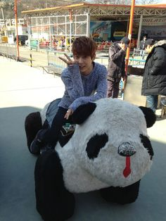 Minhyuk of BtoB (비투비) sitting on a panda (no it´s not tao lol) @WhiteTigress98