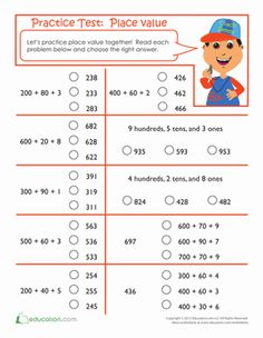 Second Grade Place Value Worksheets: Practice Test: Place Value