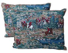 Equesterian Hunt Scene Pillows - A Pair on Chairish.com