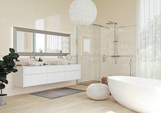 Большая светлая ванная, белая мебель и зеркало во всю стену. Применение бордюра для плитки в виде вставки на стене в туалете или в ванной комнате может визуально расширить пространство или, наоборот, уменьшить его. Double Vanity, Alcove, Catalog, Bathtub, Bathroom, Standing Bath, Washroom, Bathtubs, Bath Tube