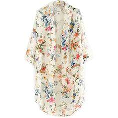 CRAVOG Femme Floral Blouse Fleur Manteau Imprimé en mousseline de soie Cardigan Kimono