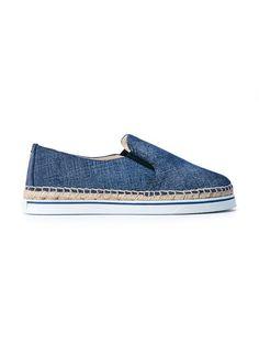 JIMMY CHOO Dawn Slip-On Denim Espadrilles. #jimmychoo #shoes #espadrilles