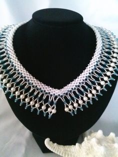 Impressive collar using Swarovski crystals, fire polished, seed beads and super duos.