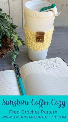 Free Crochet Pattern: Sunshine Coffee Cozy - Avery Lane Creations Free Crochet, Quick Crochet Patterns, Tunisian Crochet, Crochet Patterns For Beginners, Crochet Ideas, Crochet Coffee Cozy, Crochet Decoration, Crochet Home Decor, Easy Coffee