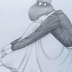 Pencil Sketches Of Girls, Pencil Drawings Of Girls, Girl Drawing Sketches, Girly Drawings, Art Drawings Sketches Simple, Girl Sketch, Sad Sketches, Sketch Art, Sad Girl Drawing