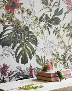 British Colonial Wallcoverings wallpaper Bring-a-world-of-colour-into-your-home-with-the-Tropical-Bloom-wallpaper.-This-mural-like-wallcoveri-wallpaper