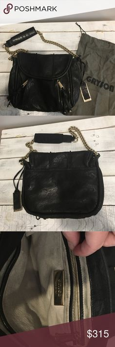 Gryson Haylie Shoulder Purse Mint condition Gryson shoulder bag. Black genuine leather, silver chain shoulder strap, 2 exterior zipper pockets and one exterior pocket, 1 zipper interior pocket and 1 patch pocket. Purchased from Bergdorf Goodman. Dust bag included. Gryson Bags Shoulder Bags