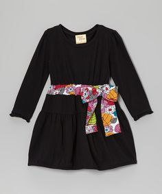 Take a look at this Black Floral Bow Dress - Toddler & Girls by Cheeky Smyle on #zulily today!