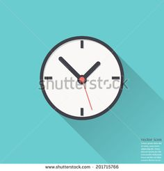 Clock icon , Vector illustration flat design with long shadow - stock vector