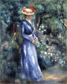 * Pierre-Auguste Renoir - -  - Lady in a blue dress in the park of Saint-Cloud - 1899