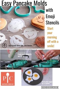 🌱🌺All NEW Spring 18 Product 🌺🌱  For fun-shaped pancakes in a flash, spray the mold with nonstick spray and place it in a nonstick pan or griddle. Pour batter to the fill line and cook until the batter bubbles pop. Use the tab to lift the mold, flip the pancake, and cook through. Remove and plate, then use the emoji stencils to sprinkle powdered sugar or cocoa. Try it with eggs, muffins, cookies, and more!  So many uses, so many ways to make life a little more fun.  Easy Pancake Molds… Pampered Chef Party, Pampered Chef Recipes, Pancakes Easy, Pancakes And Waffles, Waffle Recipes, Vegan Recipes, Chef Images, Egg Shape, Vegane Rezepte