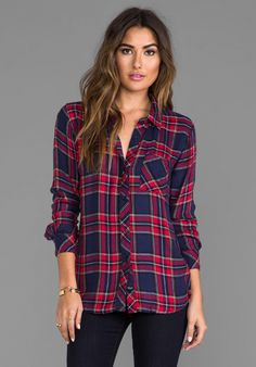 RAILS Hunter Button Down in Navy/Red at Revolve Clothing
