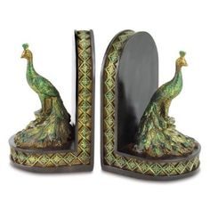 Amazon.com: Gifts & Decor Peacock Bookends Office Library Decor Polyresin: Home & Kitchen